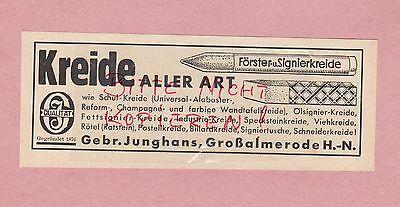 Großalmerode, Werbung 1942, Gebrüder Junghans Schul-kreide Aller Art