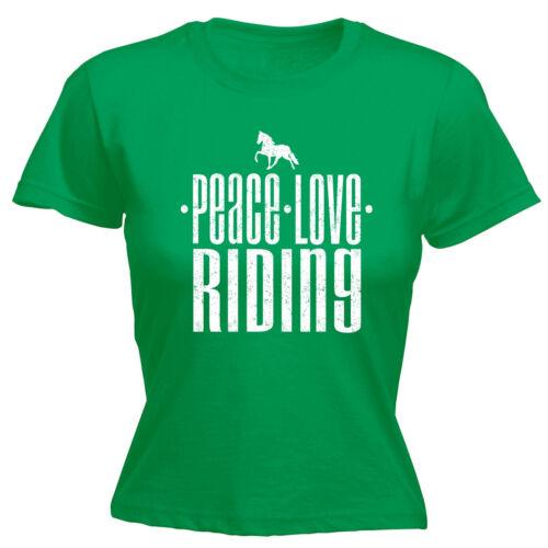 Peace Love Riding WOMENS T-SHIRT Horse Pony Horses Equestrian Gift birthday