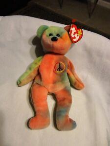 Image is loading Ty-Beanie-Baby-Peace-Bear-Born-on-February- c62d42f495f7
