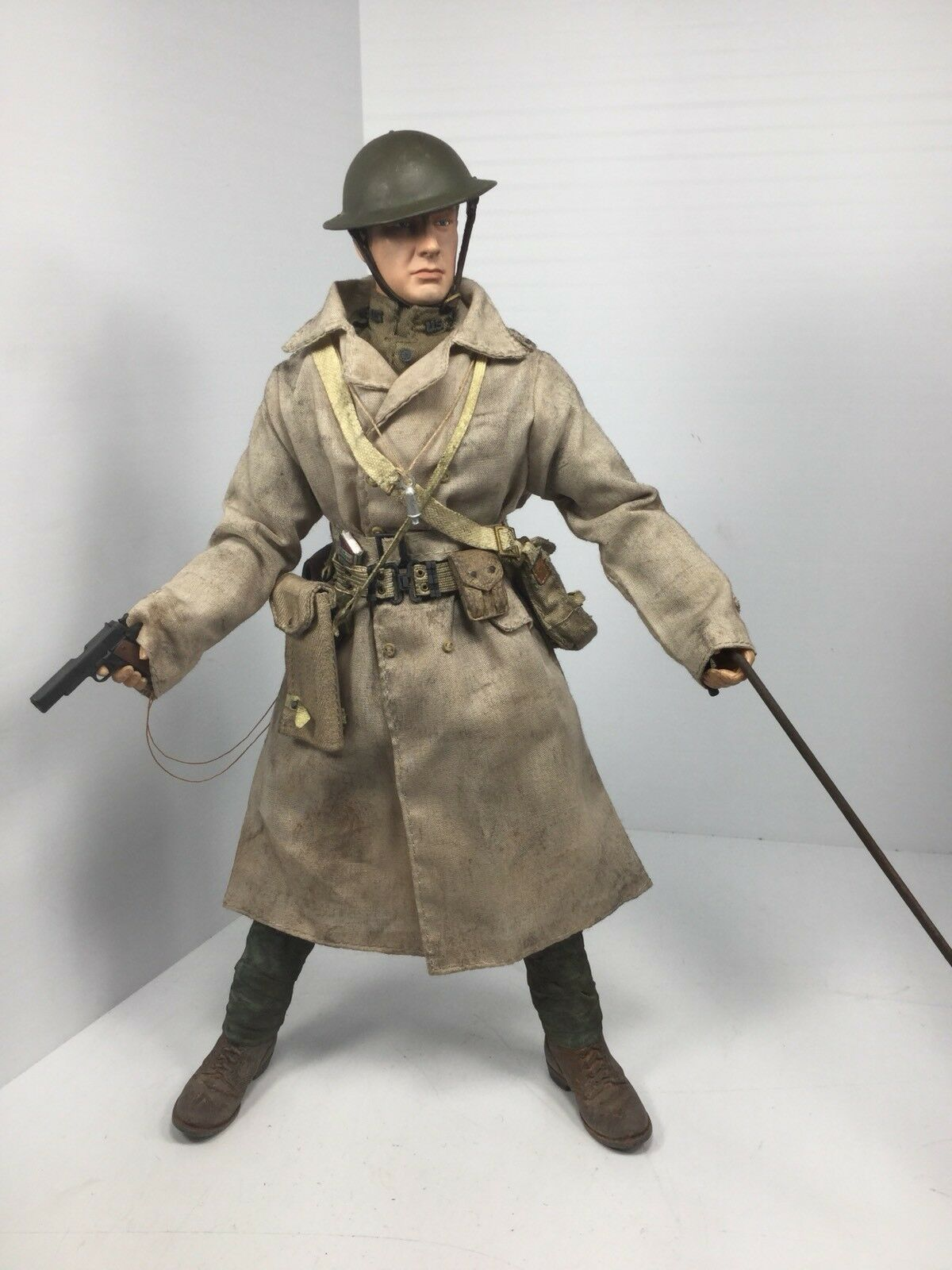 1 6 DRAGON WW1 US A.E.F LT COLT 1911 + CANE & MAP TRENCH SIDESHOW DID BBI 21st