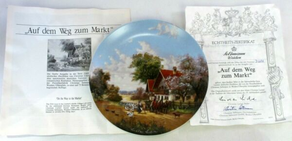 """auf Dem Weg Zum Markt"" On The Way To The Market Collectors Display Plate Coa"