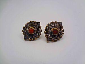 Gold-Tone-Bezel-Set-Carnelian-Pierced-Earrings-E26