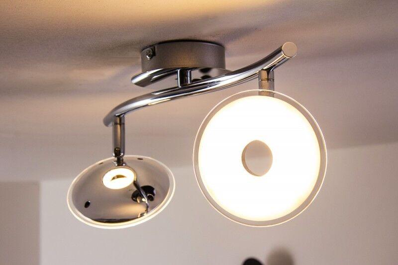LED Lampada da soffitto plafoniera design 2x3,8W metallo cromo acrilico 128781