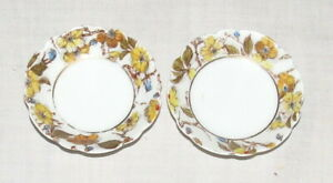 Butter-Pats-Pair-Haviland-Limoges-H-amp-C-L-2-75-ins-Scalloped-Edge-Yellow-Flowers