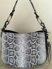 NWT Claudia Italy Italian black pebble leather python hobo bag purse grey tote