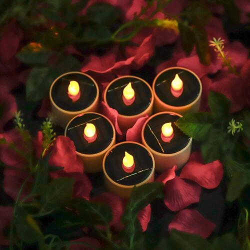 6 x LED Solar flackernde Flammen Teelichter Flammenlose Kerze Romantischen