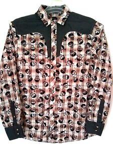 Rock-Roll-n-Soul-Mens-Orange-Gray-Plaid-Western-Style-Skull-Shirt-Size-Small