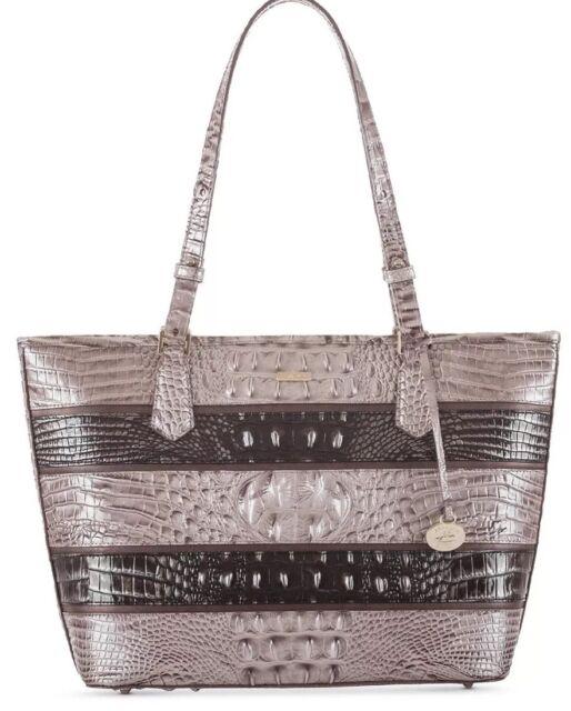 7265f418e358 New Brahmin Chardonnay Seine Asher Medium Tote leather bag zip top embossed