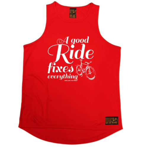 A Good Ride Fixes Everythin Cycling Vest Funny Mens Sports Performance Singlet
