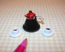 Miniature Economical Plastic Coffee Pot w/Cups: DOLLHOUSE Miniatures 1/12