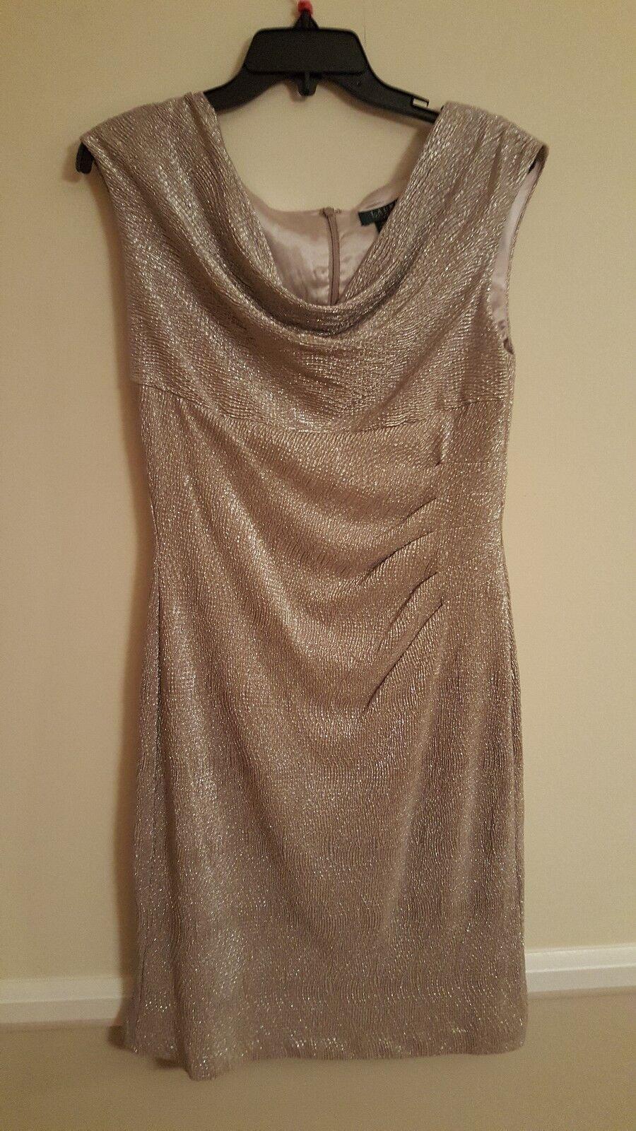 NEW LAUREN RALPH LAUREN Party dress Essentials White gold Dress Sz 10 NEW  160