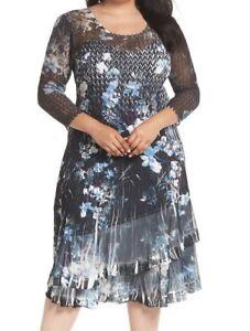 Details about Komarov Plus Size Floral Georgette & Chiffon A-Line Dress  Size 1X ($368)
