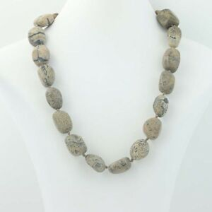 NEW-Jasper-Beaded-Necklace-Sterling-Silver-925-Natural-Earth-Tone