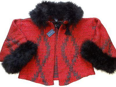 New Ralph Lauren Wool Blend Red Indian Print Feather Trim Waist Length Sweater M