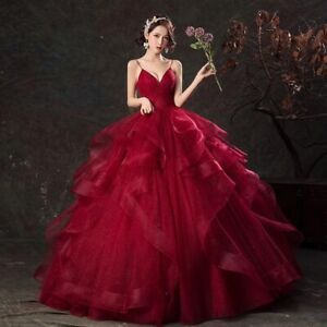 2021 Wedding Quinceanera Dresses Luxury Party Prom V-neck Floor-length Wine Red