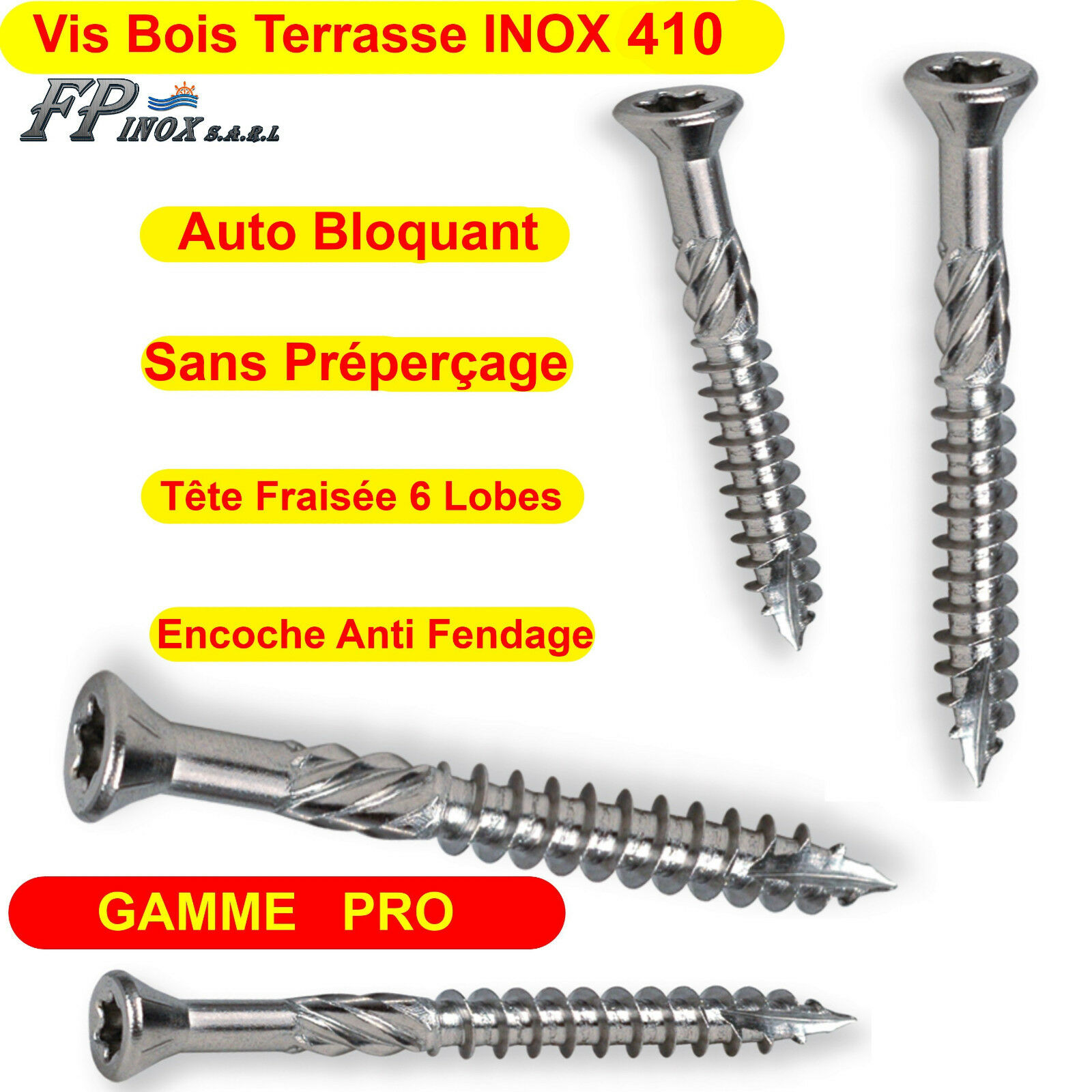 Vis Terrasses INOX 410 Bois Dur Exotique GAMME PRO 5x50 5x60 5x70 5x80