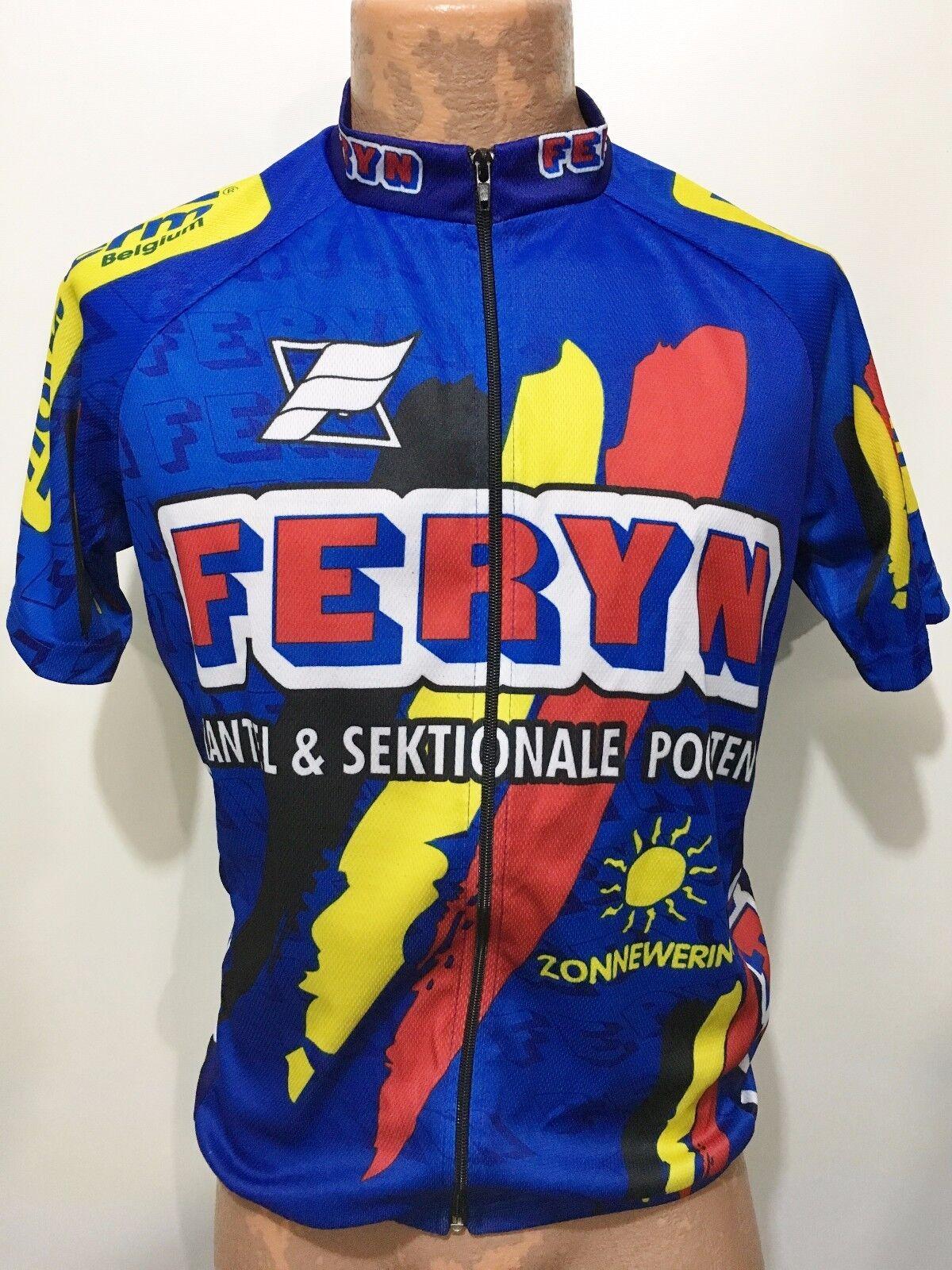 Feryn  Mens 5 L Full Zip Short Sleeve bluee Yellow Red Bike Jersey Belgium Cycling  buy cheap new