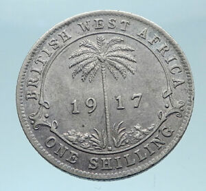 1917-British-WEST-AFRICA-UK-King-George-V-Genuine-Silver-Shilling-Coin-i78357