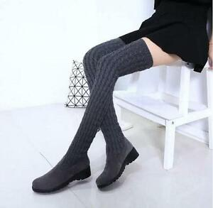2a75a53b478 Chic Women s Knitting Wool Cuffed Over The Knee Boots Slim Fit ...