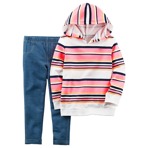 NWT Carters Baby Girl 2-pc Spring Fall Winter Sets Outfits Fleece Hoodie NB-24 M
