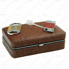 COHIBA Real Leather Snap-Fastener Travel Cigar Humidor With Lighter Cutter Set