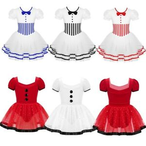 Girls-Christmas-Costume-Ballet-Skating-Leotards-Tutu-Dance-Dress-Party-Dancewear