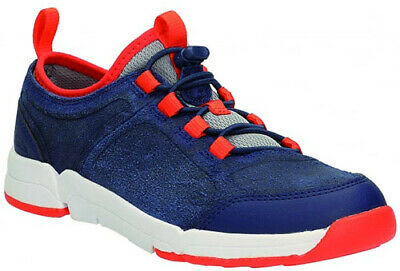 Clarks TRI DASH NAVY Boys Leather Trigenic Shoes Trainers 11-13FG Fit NEW BOXED