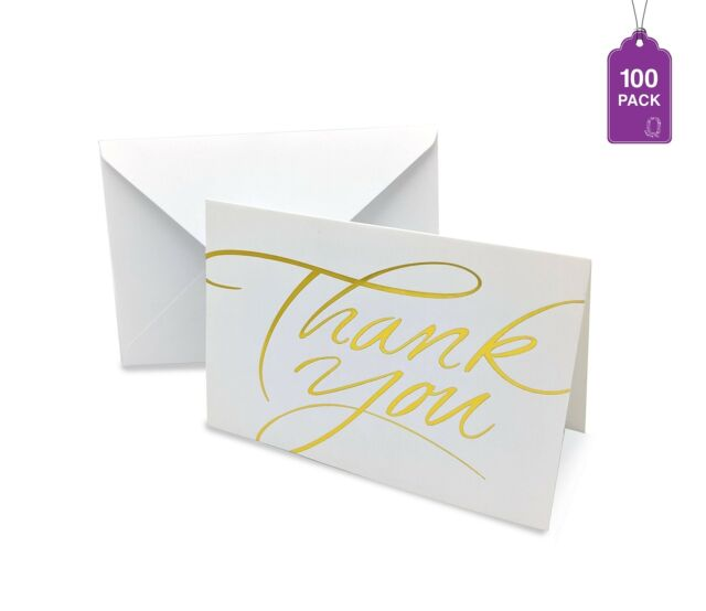 Thank You Cards- Pack of 100 With Envelopes, Gold Hot Stamped Greeting Cards