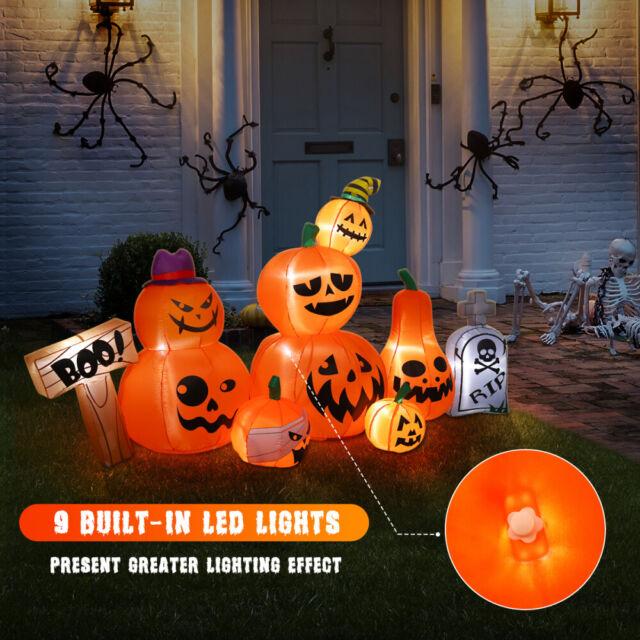 Happy Halloween Inflatable Kaleidoscope Pumpkin With Spider Outdoor Yard Decor For Sale Online Ebay