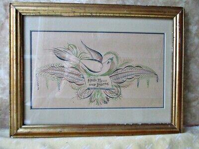 Collection Here Vintage Calligraphy Bird Behind Mat & Lemon Gold Frame C.1870,god Bless Home Art