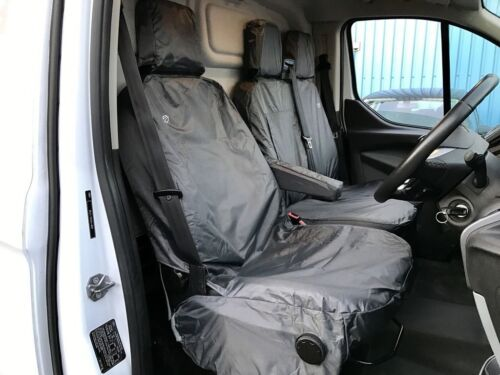 GREY 8 PIECE FULLY TAILORED VAN SEAT COVERS FOR FORD TRANSIT CUSTOM 2015