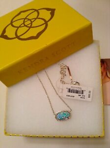 NWT-Kendra-Scott-039-Elisa-039-Gold-Pendant-Necklace-in-AQUA-Kyocera-Opal-SOLD-OUT