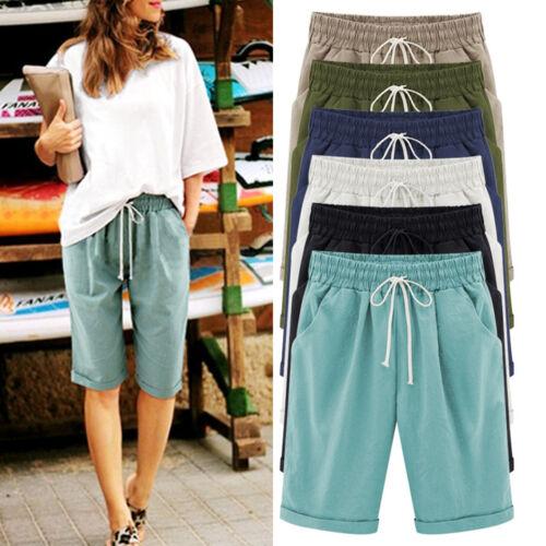 32-48 Damen Strand Sommer Freizeit Bermuda Shorts Capri Kurze Hose Stoffhose Gr