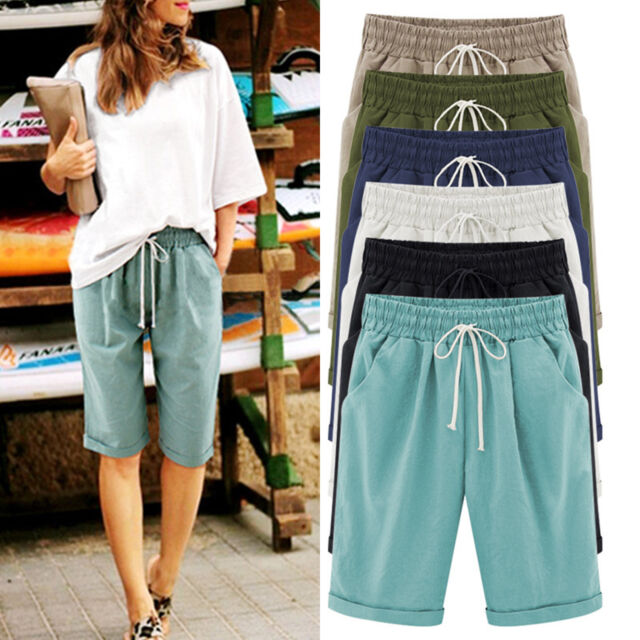 Plus Size Women Casual Loose Shorts Half Trousers Summer Cropped Pants 1/2 S-6XL