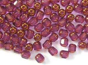 40-AMETHYST-faceted-lantern-Czech-glass-beads-6mm
