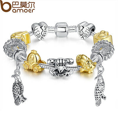 DIY LOVE European Best Friend Silver Bracelet With Eagle Animal Charms For Women