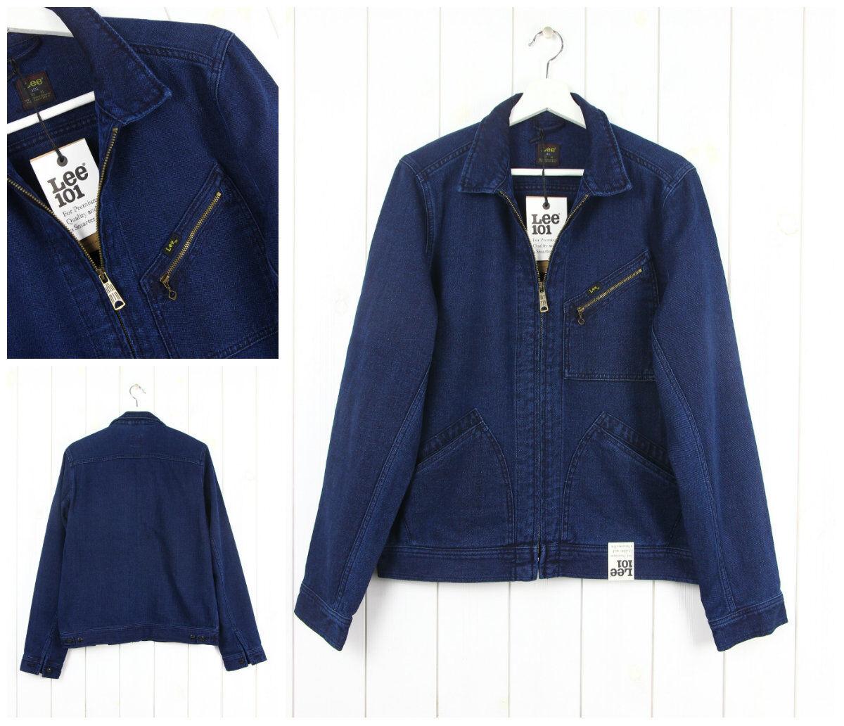 NUOVO Lee 101 Giacca con zip Indaco tela denim regular blue scuro _ S M L XL