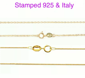 Rose-18k-Gold-Plated-on-925-Sterling-Silver-Necklace-Chain-Italy