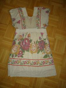 Damen-Kleid-Sommerkleid-Gr-M-v-ORION-LONDON-beige-mit-Blumenmuster-Acryl-Woll