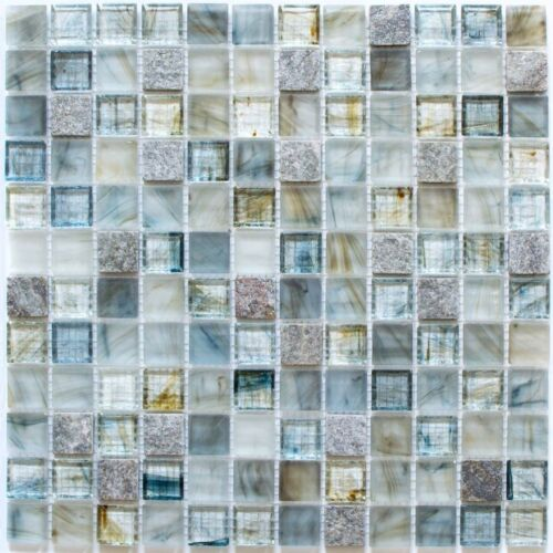 Mosaïque carreau translucide pierre verre gris clair bain 94-2505/_f10 plaques