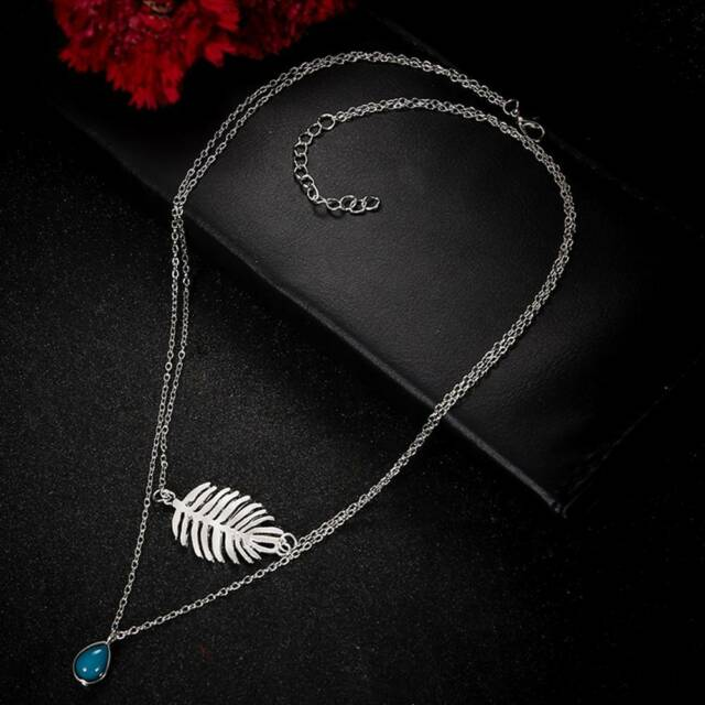 Fashion Leaf Beaded Necklaces Women Collar Chain Necklace Jewelry Gifts C