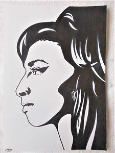 A4 Art Marker Pen Sketch Drawing Amy Winehouse Musician C Poster Ebay