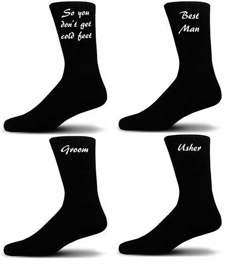 Black Luxury Cotton Rich Wedding Socks, Groom, Best Man, Usher Script Design