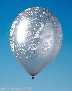 LUFTBALLON-5-Stueck-Luftballons-SILBERNE-HOCHZEIT-034-25-034-Jubilaeum-SILBERHOCHZEIT