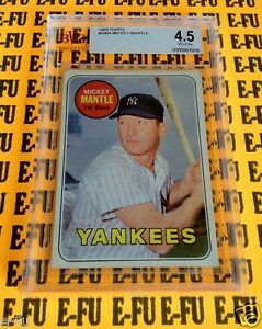 1969 Topps Mickey Mantle New York Yankees BGS Graded BVG 4.5 Very Nice Centering