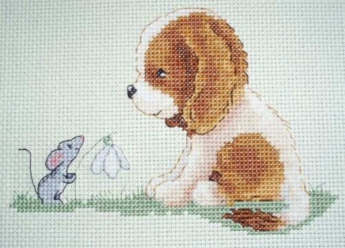 Set of 2  Sam and Peeps Cross Stitch Charts Lets Play and It/'s Spring