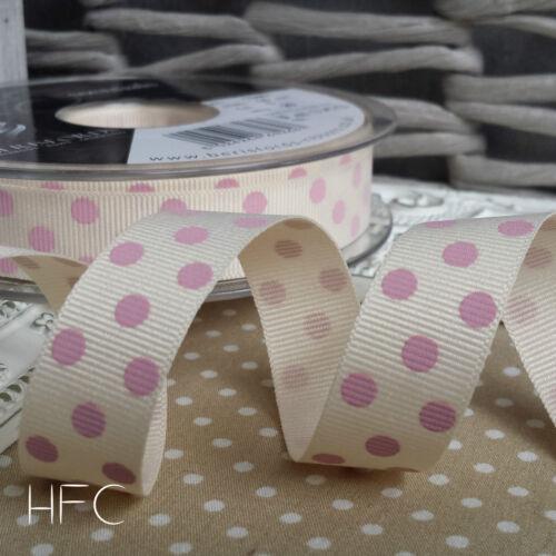 15mm Polka Dot Grosgrain Ribbon by Berisfords Natural Ivory Grey Blue Pink