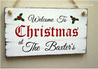 Christmas welcome sign personalised gift shabby vintage chic xmas wooden plaque