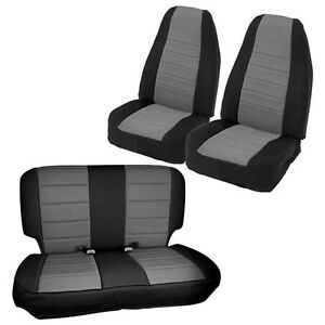 Image Is Loading Smittybilt Black Grey Front Rear Neoprene Seat Covers