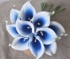 10 Royal Blue Picasso Calla Lilies Real Touch Wedding